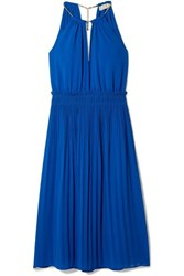 Michael Michael Kors Hayden Chain Embellished Pleated Georgette Dress Royal Blue