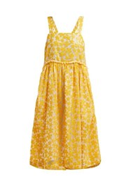 Shrimps Lucia Sequinned Floral Midi Dress Yellow