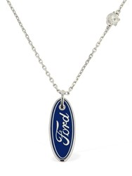 Versace Ford Logo Necklace Silver