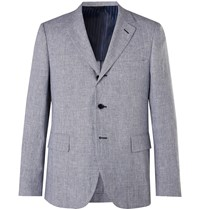 Massimo Piombo Mp Andy Unstructured Houndstooth Linen Blazer Blue
