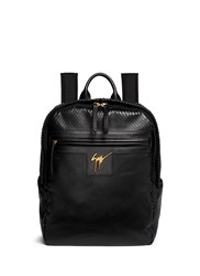 Giuseppe Zanotti Scale Effect Leather Backpack Black