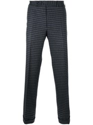 Canali Checked Straight Leg Trousers Grey