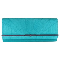 Jacques Vert Bow Trim Clutch Bag Turquoise