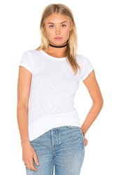 Enza Costa Cotton Slub Rib Fitted Cap Sleeve Tee White
