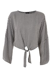 Topshop Gingham Knot Front Top Monochrome