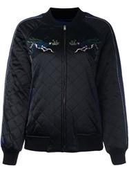Steve J And Yoni P Embroidered Quilted Bomber Jacket Black