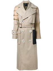 Undercover Textured Detail Belted Coat Brown