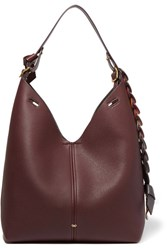 Anya Hindmarch Bucket Small Textured Leather Tote Burgundy