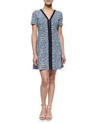 Tory Burch Geometric Print Zip Front Ponte Dress Women's Black White