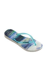 Havaianas Slim Paisage Rubber Thong Sandals White