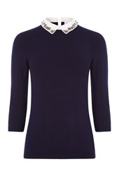 Warehouse Embellished Collar Jumper Navy