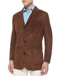 Kiton Three Button Suede Blazer Tobacco Black