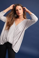 Anthropologie Michael Stars Draped Wrap Top Light Grey