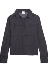 Iris And Ink Estrella Cropped Checked Woven Shirt Midnight Blue