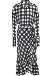 Marissa Webb Belted Ruffled Gingham Silk Crepe Midi Dress Multicolor