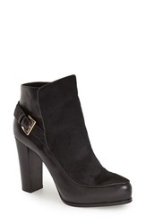 Women's Nicole Miller 'Flora' Bootie Black Leather Calf Hair