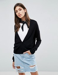 Asos Cardigan In Fine Knit With One Button Black