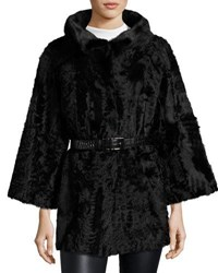 Gorski Stand Collar Belted Fur Coat Black