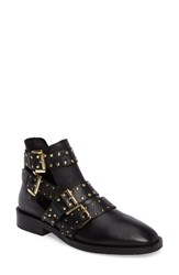 Topshop Women's Ark Studded Buckle Bootie Black