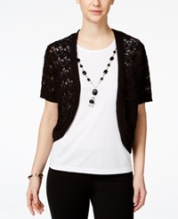 Alfred Dunner Layered Look Necklace Top Black