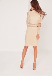 Missguided Lace Long Sleeve High Neck Midi Dress Nude Beige