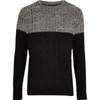 River Island Mens Beige Knit Block Slim Fit Jumper