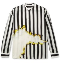 Haider Ackermann Grandad Collar Double Cuff Printed Silk Shirt White
