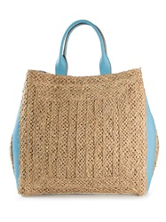 Emilio Pucci Straw Flowered Beach Tote Nude And Neutrals