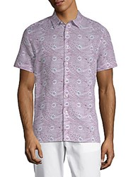 Perry Ellis Paisley Print Button Down Shirt Rhododendrum