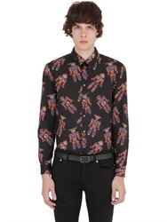 Msgm Tribal Robots Print Cotton Poplin Shirt