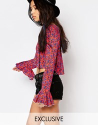 Milk It Vintage Floral Smock Top With Fluted Sleeves And V Neck Pink Multi