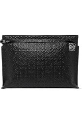 Loewe T Embossed Leather Pouch Black