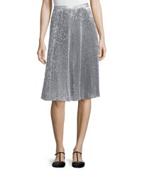 Adam By Adam Lippes Metallic Plisse A Line Skirt Silver