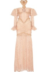 Alessandra Rich Silk Chiffon Trimmed Cotton Blend Lace Halterneck Gown Blush