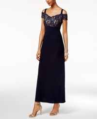 R And M Richards Lace Cold Shoulder Gown Navy Taupe