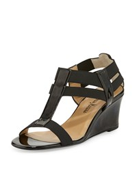 Neiman Marcus Lacee Patent Wedge Sandal Black