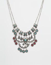 Designsix Stone Statement Necklace Silver