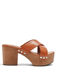 Alexachung Crossover Leather Clogs Tan