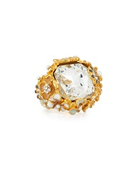 Kenneth Jay Lane 22K Gold Plated Floral Cocktail Ring White