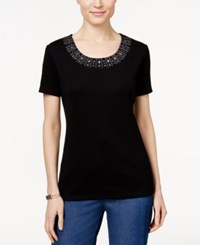 Karen Scott Short Sleeve Studded Top Only At Macy's Deep Black