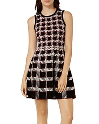 Karen Millen Houndstooth A Line Dress Black Multi
