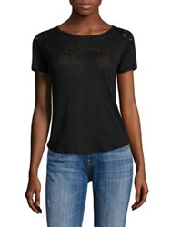 Generation Love Finn Linen Lace Up Tee Black