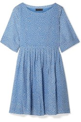 Hatch The Lucia Pleated Floral Print Chiffon Dress Light Blue