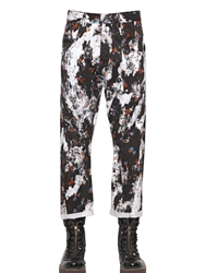 Mcq By Alexander Mcqueen 18Cm Floral Printed Denim Jeans Black White