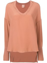 Nude V Neck Top Pink And Purple