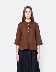 Margaret Howell Summer Pull On Shirt Chestnut