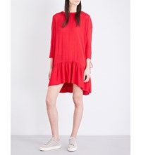 The Kooples Lace Up Crepe Dress Red41