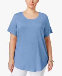 Jm Collection Plus Size Short Sleeve Top Only At Macy's Periwinkle Haze