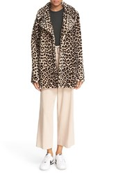 A.L.C. Women's 'Stone' Leopard Print Genuine Shearling Coat
