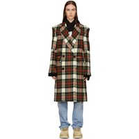 R 13 R13 Red And Whitecheck Kendall Coat